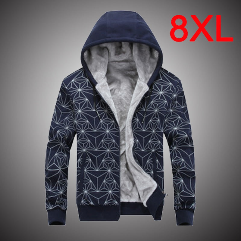 Winter Hoodies Mens Inner Fleece Plus Size 8XL Tracksuits - The Hoodie Store