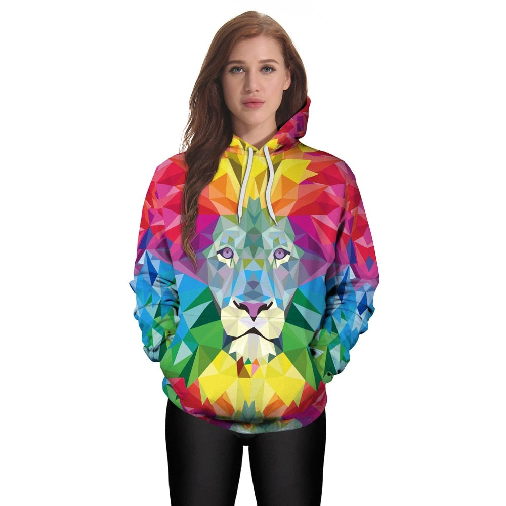 3D Lion Printed Hoodie For Women - The Hoodie Store