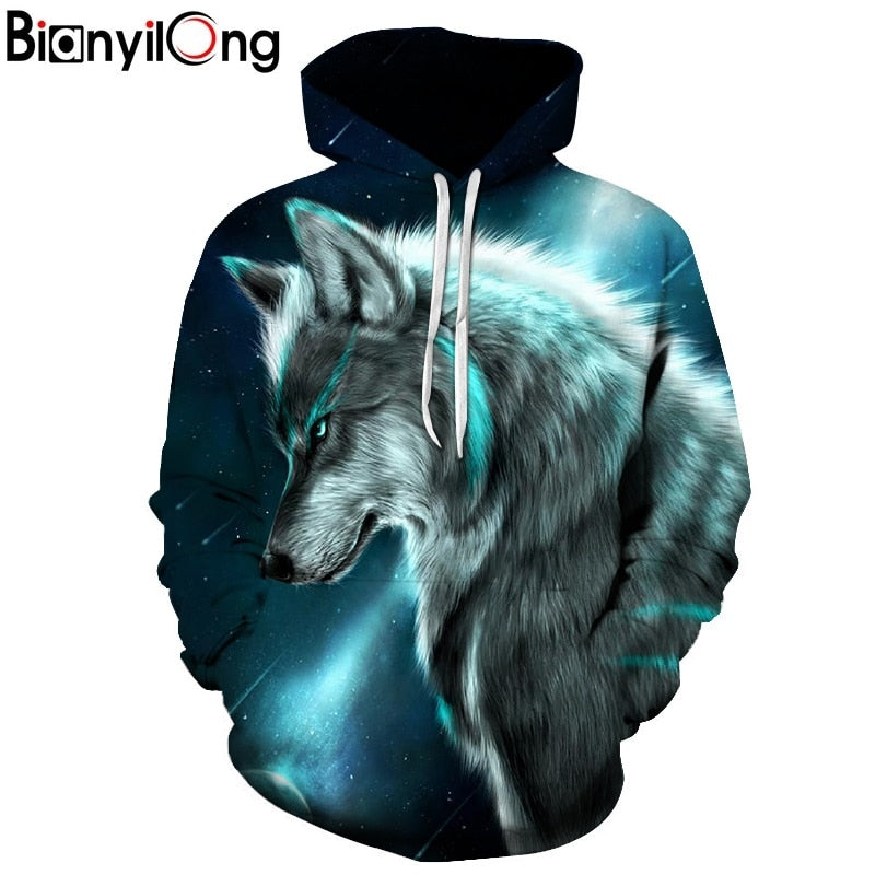 Star-headed wolf print Hoodies - The Hoodie Store