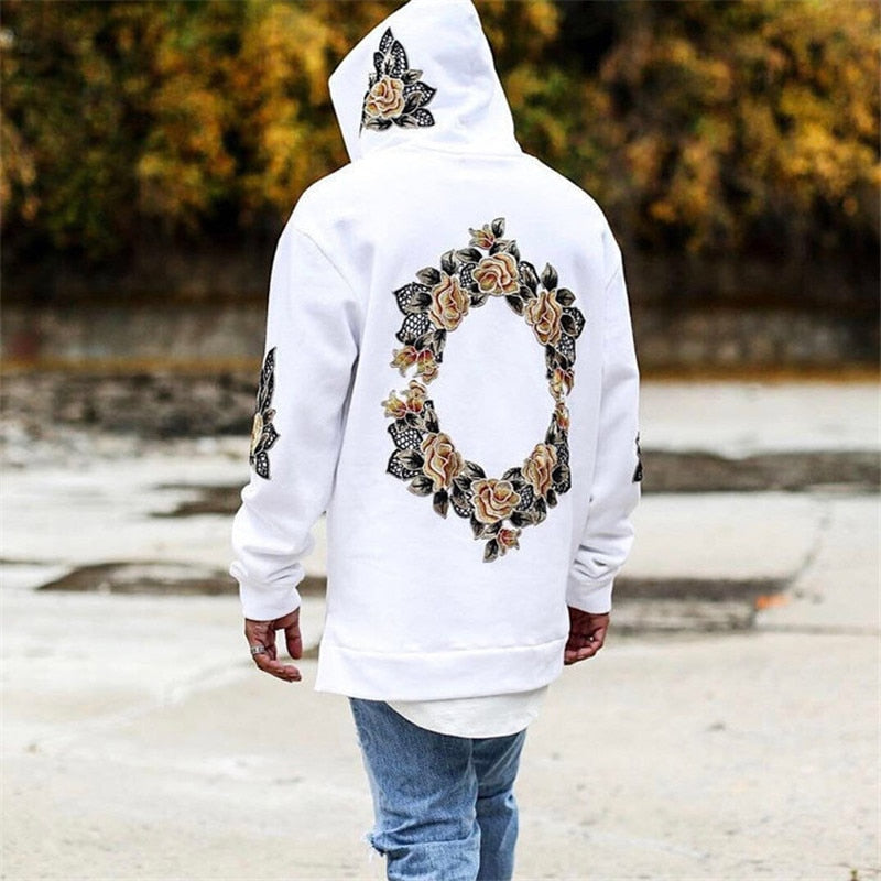 Men Printing Floral Hooded Pullover - The Hoodie Store