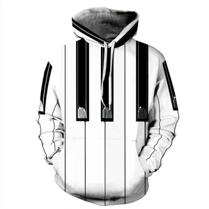 Women's 3D Piano's Keyboard Hoodie - The Hoodie Store