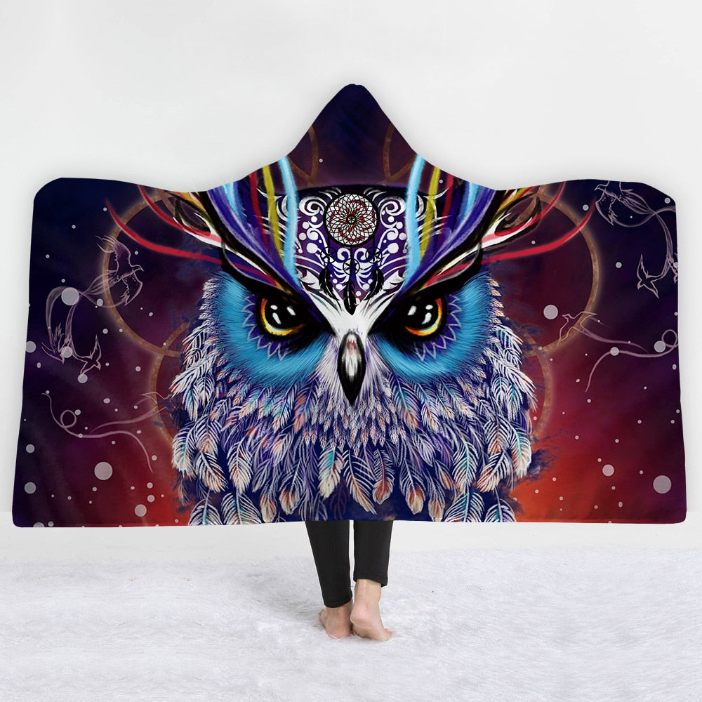 owl Monster head Hooded Blanket - The Hoodie Store