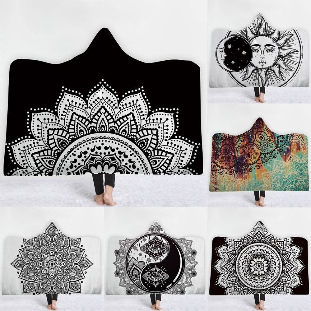 Mandala Sun Hooded Blanket - The Hoodie Store