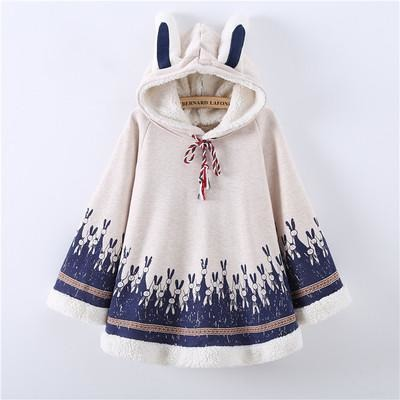 Warm Fleece Rabbit Print Cape With Ears - The Hoodie Store