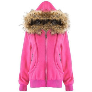 Womens Fur Coat Outdoor Thick Jacket - The Hoodie Store