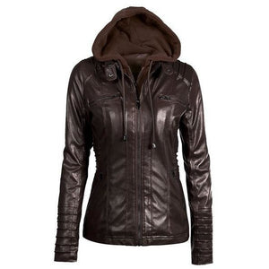 Womens Leather Button-Up Collar Jacket - The Hoodie Store