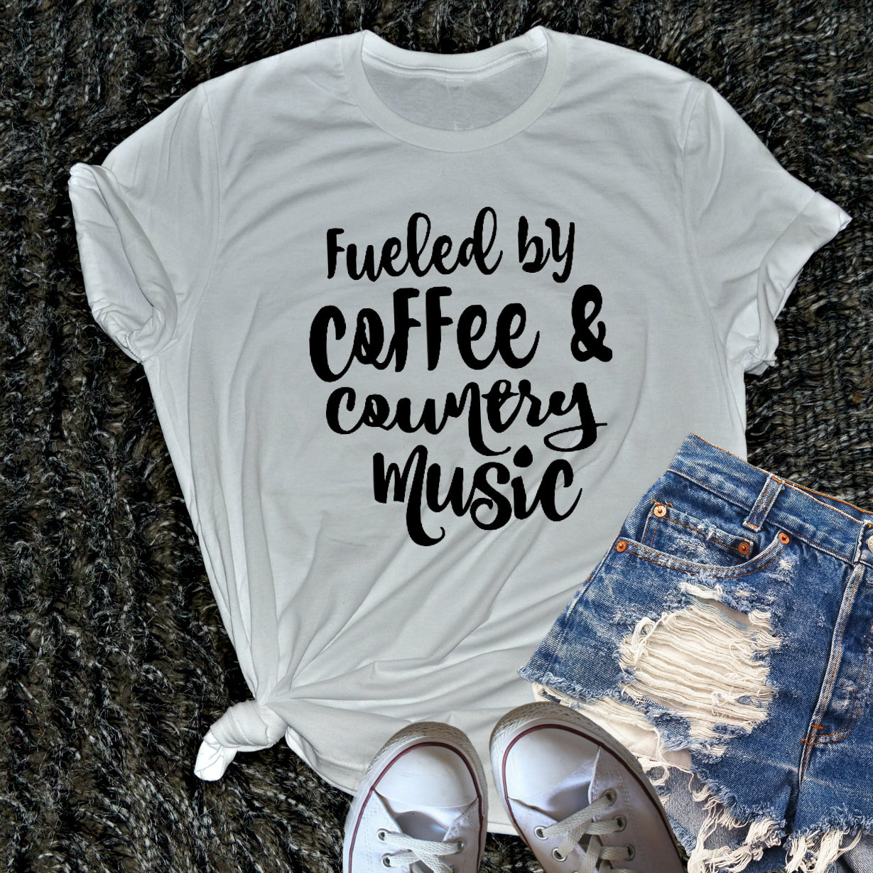 Fueled By Coffee and Country Music Shirt. Change the saying!