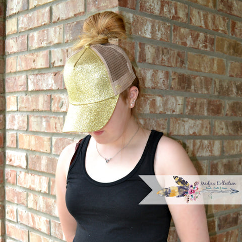 Messy Bun Ponytail Hat. Glitter & Non Glitter Options.