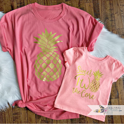 Momma and Me Pineapple Shirts. Sweet Two the Core. 2nd Birthday or Pineapple Only Design