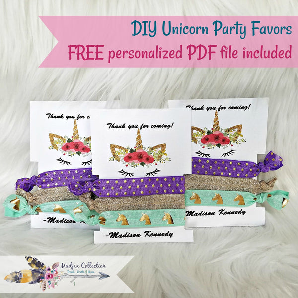 One set of 3 Unicorn Hair Ties. Free personalized PDF file included. DIY Craft.