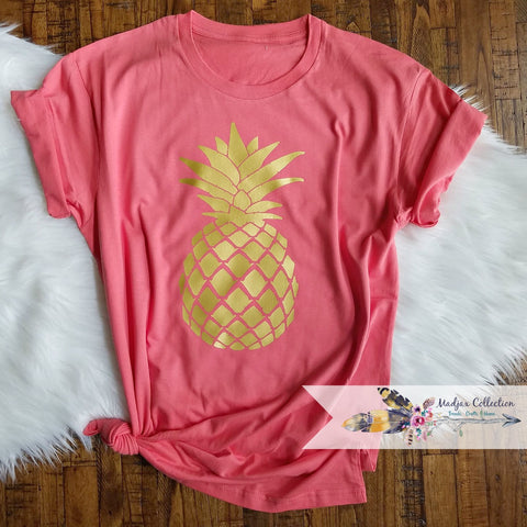 Coral and Gold Pineapple Shirt