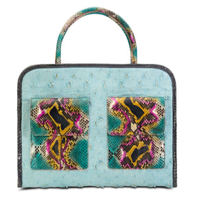 Phialebel | shopping bag turquoise python
