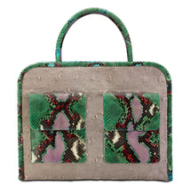 Phialebel | shopping bag beige and green python