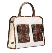 Phialebel | shopping bag white and brown python