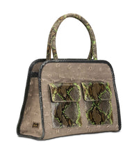 Phialebel | Mini Shopping bag beige and green python