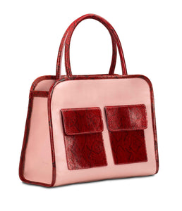 Phialebel | Mini Shopping bag pink and red python