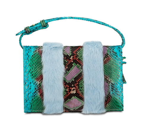 Phialebel | clutch turquoise green python and fur
