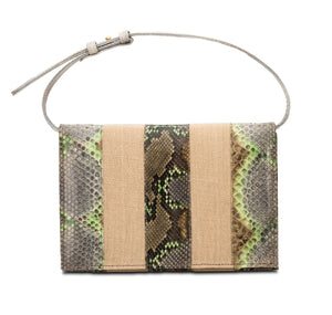 Phialebel | Clutch beige and green python