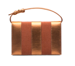 Phialebel | Clutch orange linen and leather