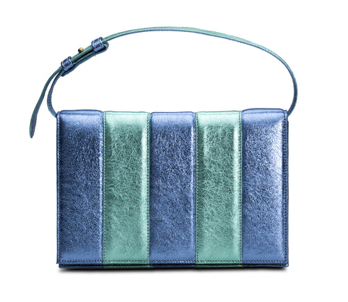 Phialebel | Clutch blue and green metallic leather