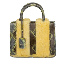 Phialebel | handbag in green python and yellow fur
