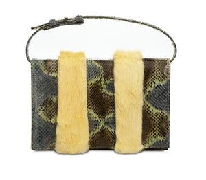 Phialebel | Clutch in green python and yellow fur
