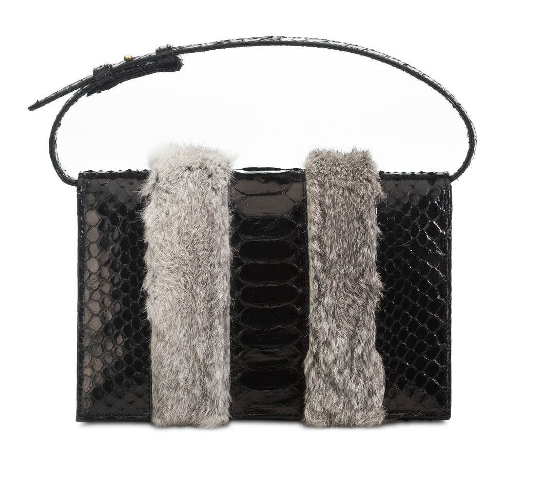 Phialebel | Clutch in black python and grey fur