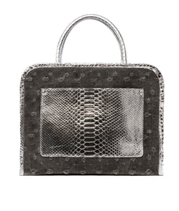 Phialebel | shopping bag black metallic silver python