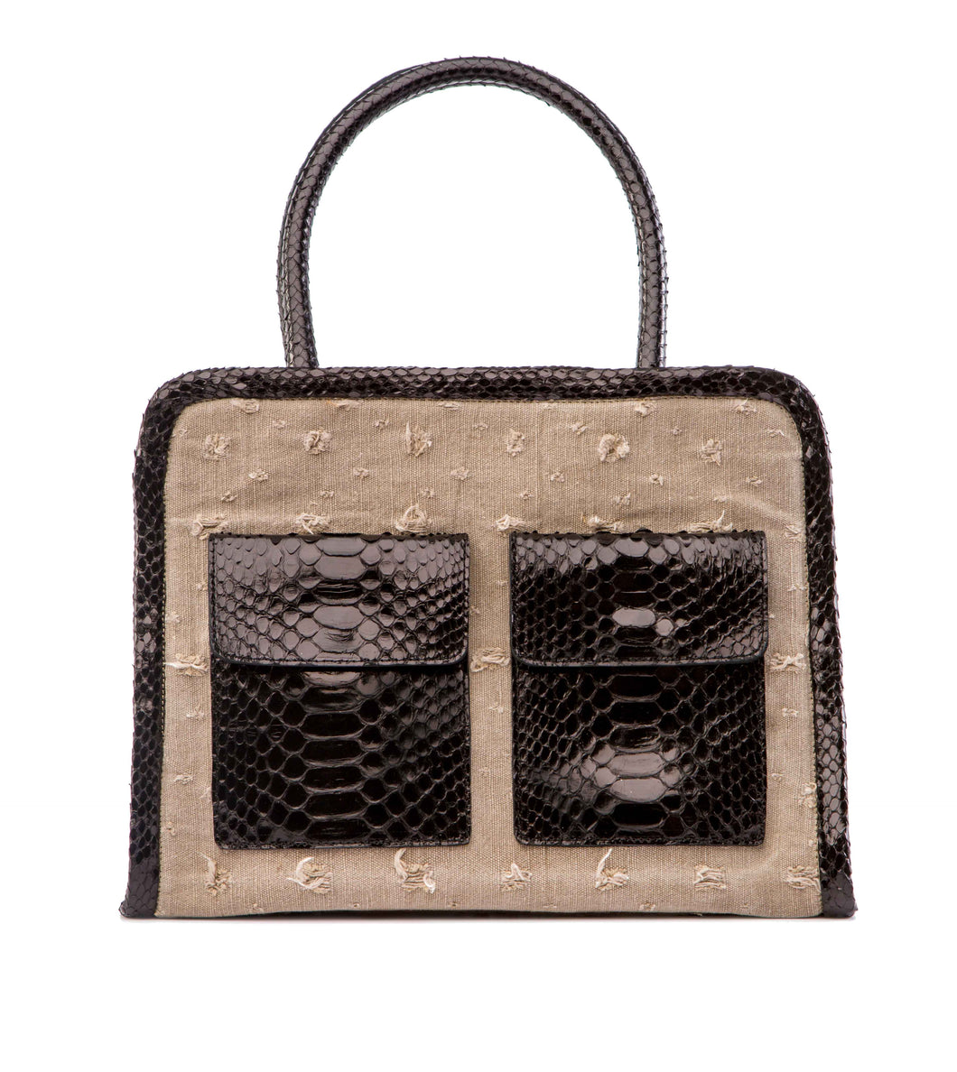 Phialebel | Mini Shopping bag beige and black python
