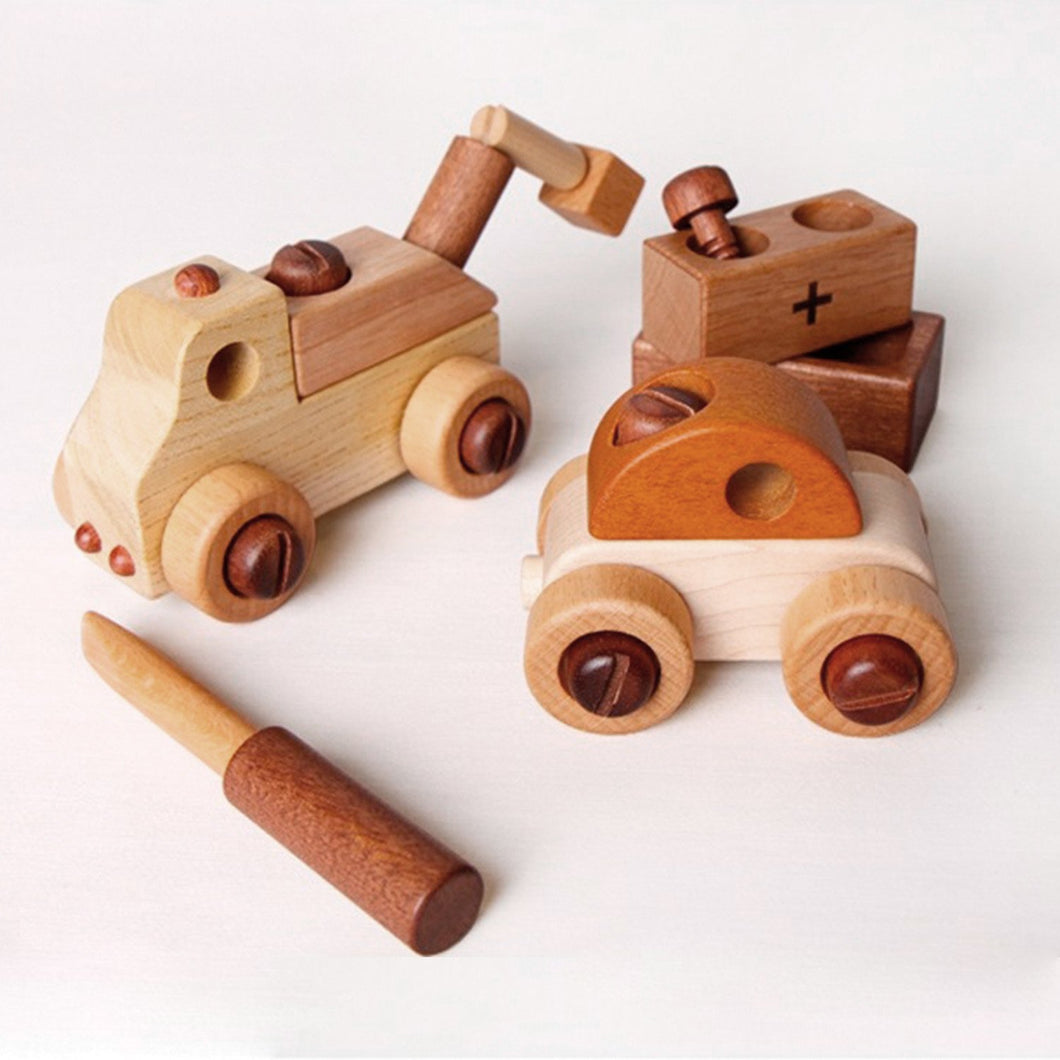 Wooden Cars With Tool Kit