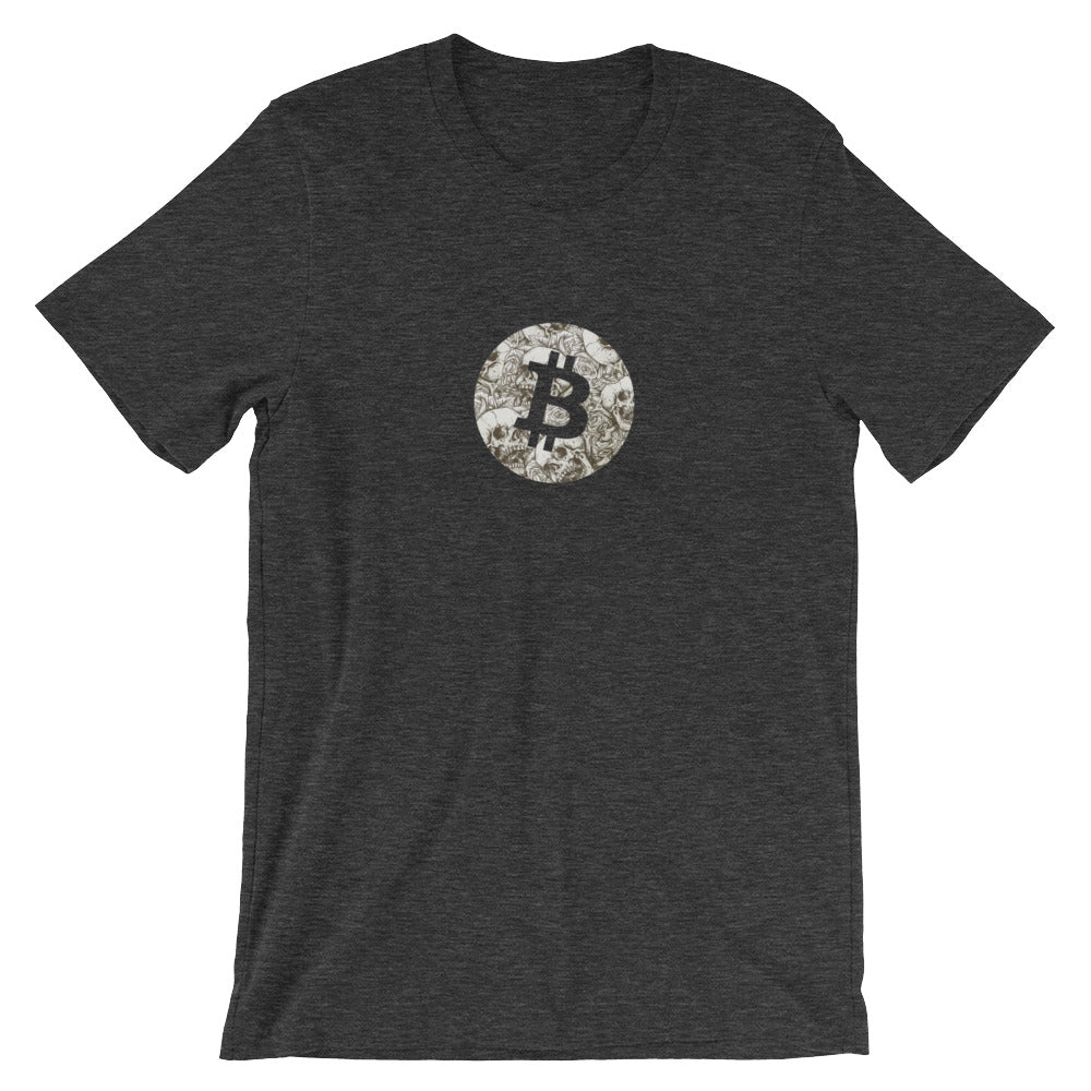 Bitcoin skulls & roses T-Shirt | Pattern collection - CryptoShirt.io