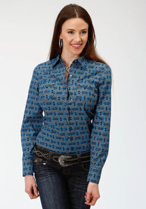 Womens Blue Aztec Western Snap Shirt ~By Roper