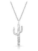 Hammered Silver Cactus Necklace.