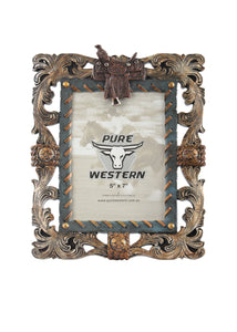 Siver Leaf & Saddle Picture Frame ~ By Pure Western