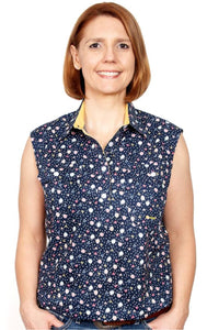 Lilly Sleeveless Navy Spot Floral 1/2 Button Shirt ~ By Just Country