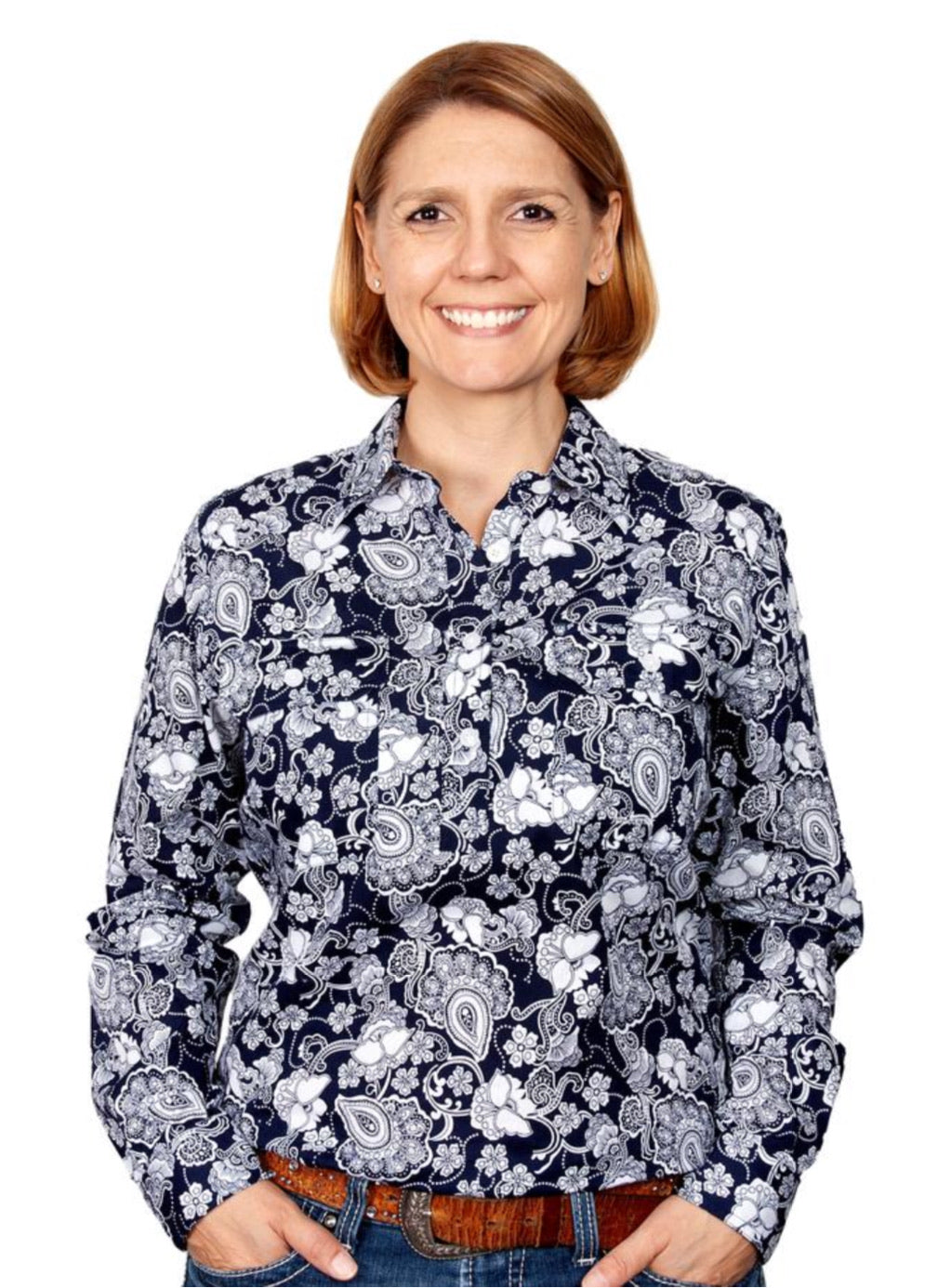 Navy Paisley Floral Georgie 1/2 Button Shirt ~ By Just Country