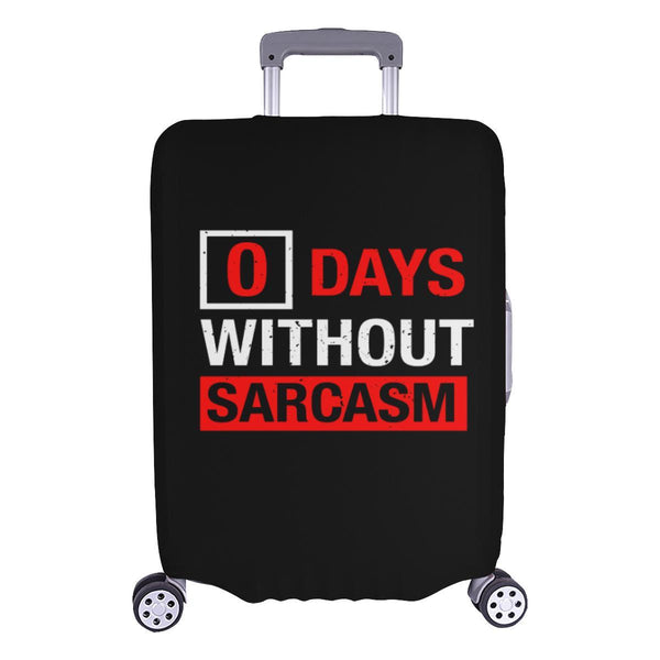 "0 Days Without Sarcasm Sarcastic Travel Luggage Cover Suitcase Protector 18""-28""-L-Black-JoyHip.Com"