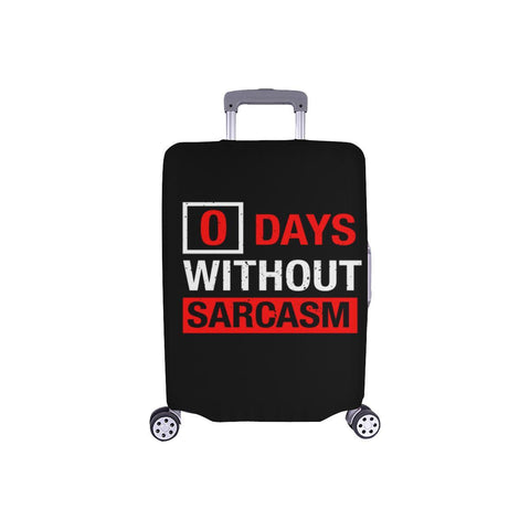 "0 Days Without Sarcasm Sarcastic Travel Luggage Cover Suitcase Protector 18""-28""-S-Black-JoyHip.Com"