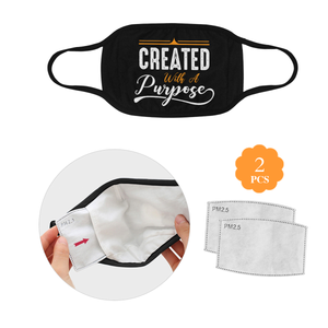 Created With A Purpose Christian Washable Reusable Face Mask With Filter Pocket