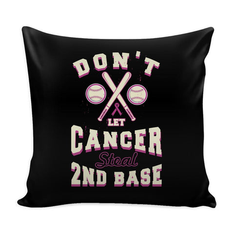 2nd Base Baseball Cool Awesome Unique Breast Cancer Awareness Pink Ribbon Decorative Throw Pillow Cases Cover(9 Colors)-Pillows-Black-JoyHip.Com