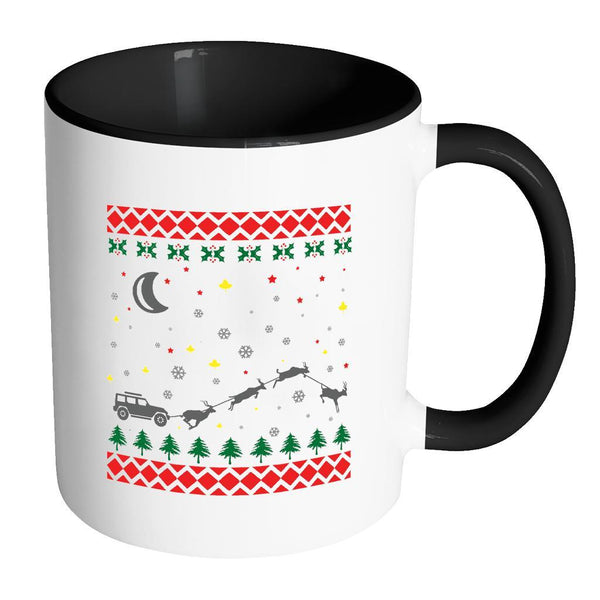 4X4 Jeep Wrangler Off Road Ugly Christmas Sweater 11oz Accent Coffee Mug (7 Colors)-Drinkware-Accent Mug - Black-JoyHip.Com