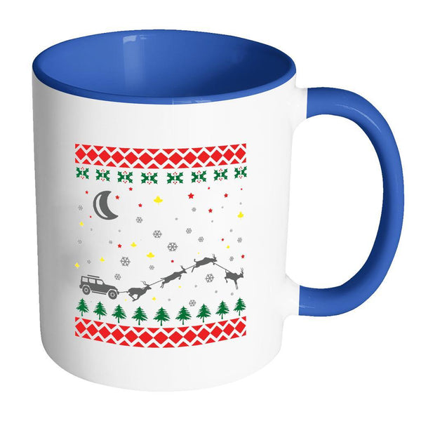 4X4 Jeep Wrangler Off Road Ugly Christmas Sweater 11oz Accent Coffee Mug (7 Colors)-Drinkware-Accent Mug - Blue-JoyHip.Com