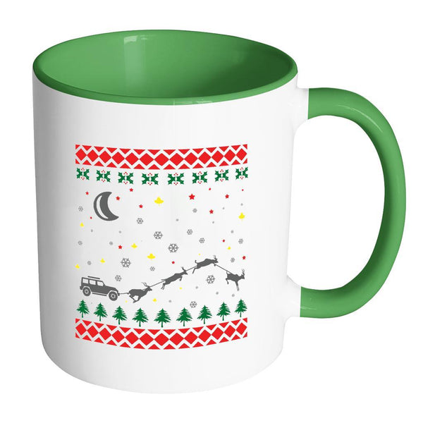 4X4 Jeep Wrangler Off Road Ugly Christmas Sweater 11oz Accent Coffee Mug (7 Colors)-Drinkware-Accent Mug - Green-JoyHip.Com