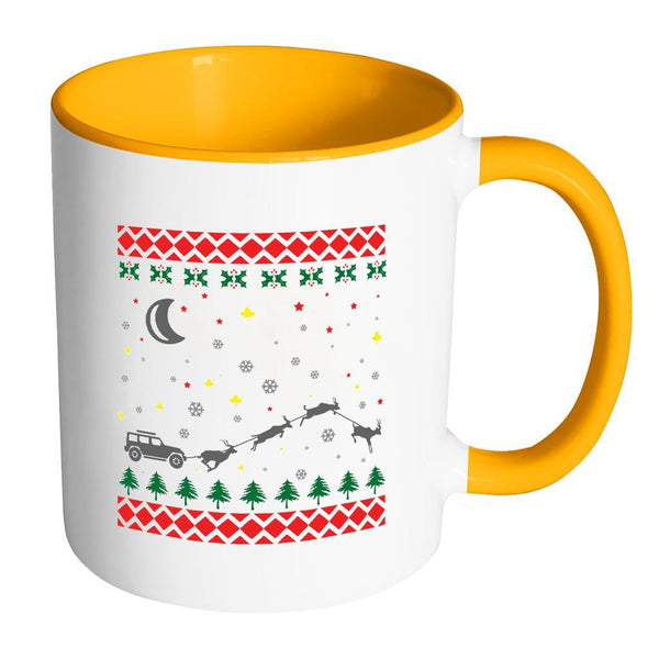 4X4 Jeep Wrangler Off Road Ugly Christmas Sweater 11oz Accent Coffee Mug (7 Colors)-Drinkware-Accent Mug - Orange-JoyHip.Com