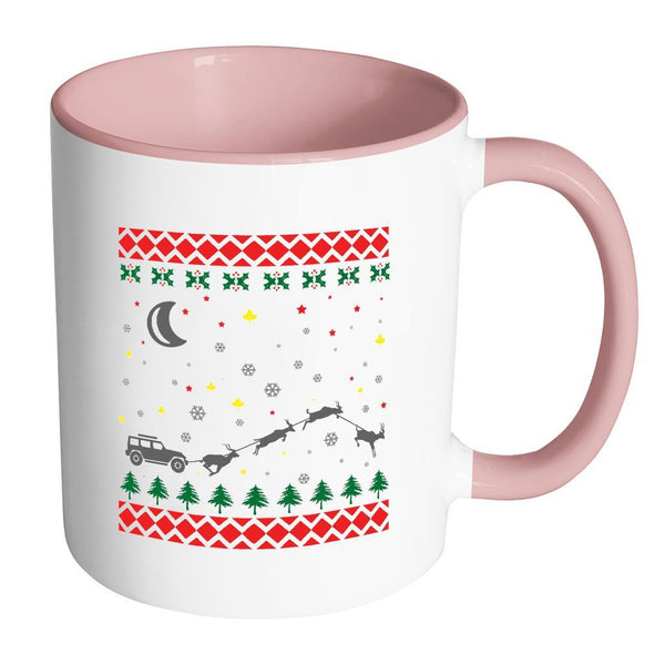 4X4 Jeep Wrangler Off Road Ugly Christmas Sweater 11oz Accent Coffee Mug (7 Colors)-Drinkware-Accent Mug - Pink-JoyHip.Com
