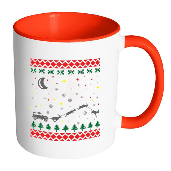 4X4 Jeep Wrangler Off Road Ugly Christmas Sweater 11oz Accent Coffee Mug (7 Colors)-Drinkware-Accent Mug - Red-JoyHip.Com