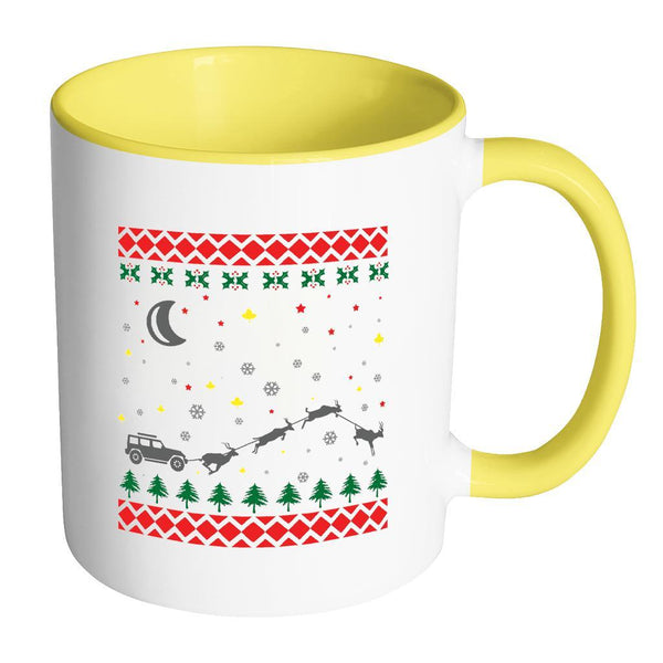 4X4 Jeep Wrangler Off Road Ugly Christmas Sweater 11oz Accent Coffee Mug (7 Colors)-Drinkware-Accent Mug - Yellow-JoyHip.Com