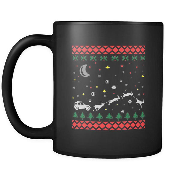 4X4 Jeep Wrangler Off Road Ugly Christmas Sweater Black 11oz Coffee Mug-Drinkware-Ugly Christmas Sweater Black 11oz Coffee Mug-JoyHip.Com