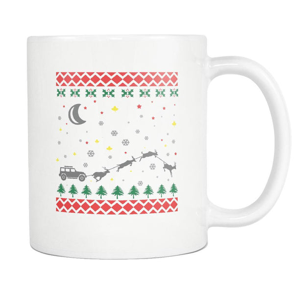 4X4 Jeep Wrangler Off Road Ugly Christmas Sweater White 11oz Coffee Mug-Drinkware-Ugly Christmas Sweater White 11oz Coffee Mug-JoyHip.Com