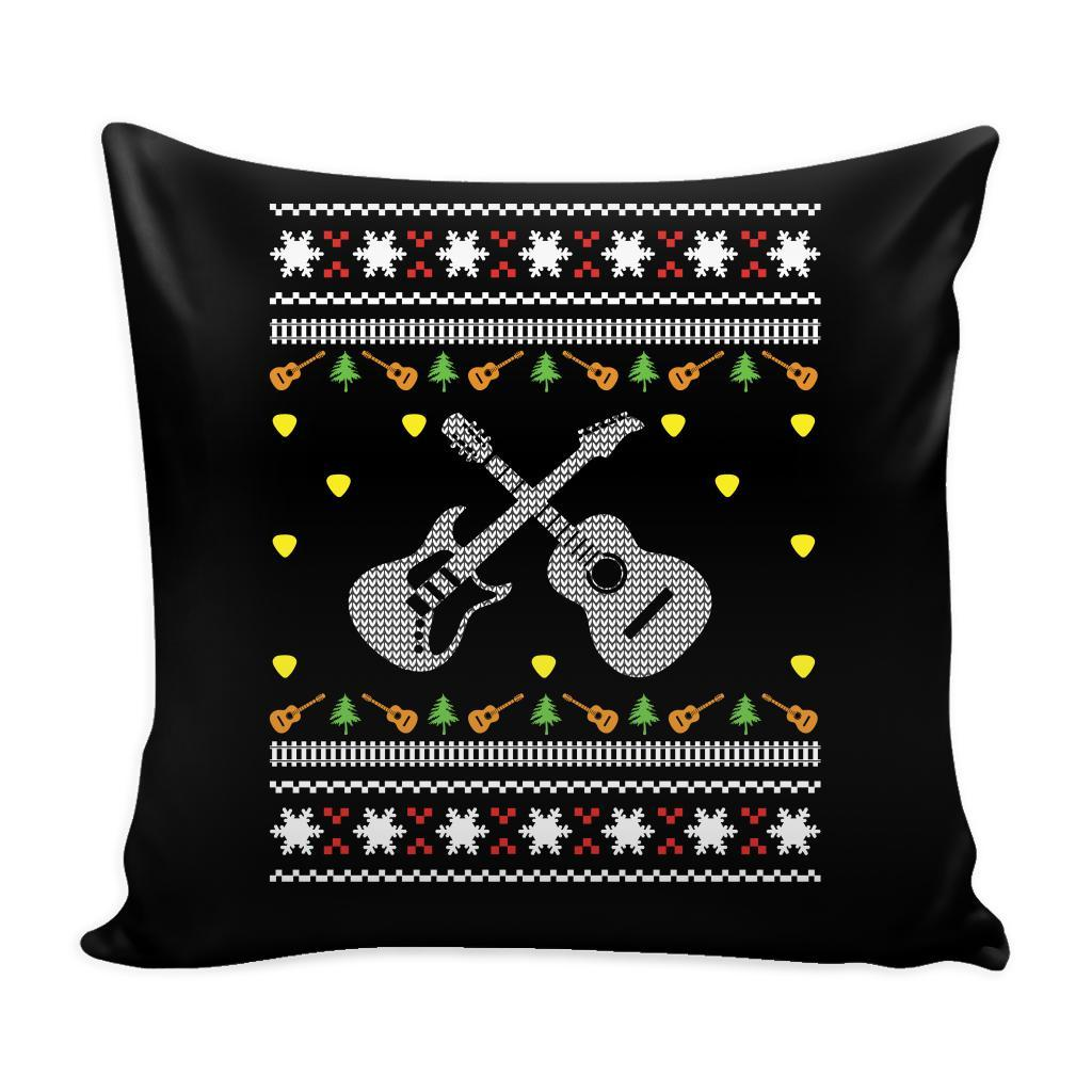 Acoustic Electric Bass Guitar Gibson Yamaha Festive Funny Ugly Christmas Holiday Sweater Decorative Throw Pillow Cases Cover(4 Colors)-Pillows-Black-JoyHip.Com